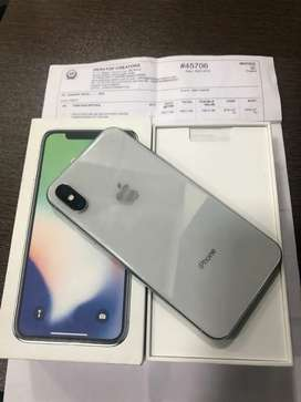 iPhone X - 64 GB - Silver - Indian Bill box full kit - 100% condition