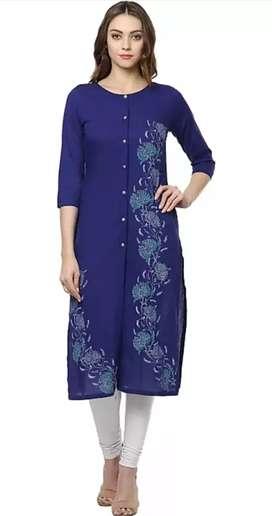Women's Printed Cambric Straight Kurta (Multicolor)
