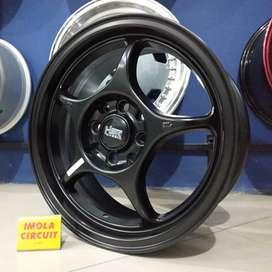 Pelek mobil agya ring 15 HSR wheel r15 baut 4x100 dan 4x114,3 Black
