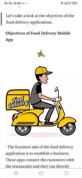 Food delivery job requirement immediately