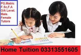 teachers required Male and female for Home Tuition in all areas
