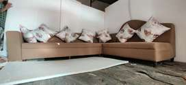 L shape Sofa set with glass center table 10 seater