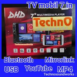 Tv mobil 7 inch YouTube sistim android USB Mp4 for paket sound audio