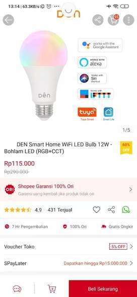 DEN Smart Home WiFi Light Bulb 12W - Bohlam LED (RGB + CCT)