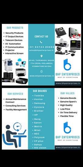 CCTV, Computer, Laptop, Printer, Copier, Intercom system, Speaker, Mic