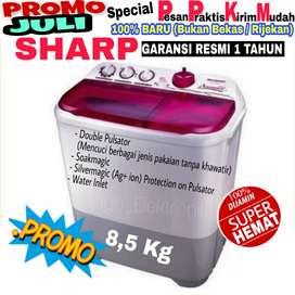 Mesin cuci Sharp 2 tabung 8,5kg model baru filter