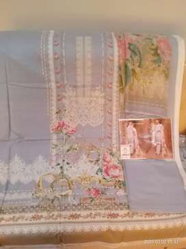 80/80 embroidered Lawn with chiffon dupata