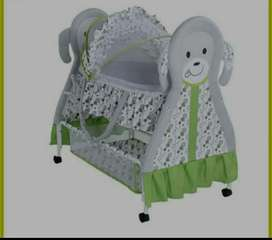 Baby cot  green And grey colour!! ( Want to sale urgent)