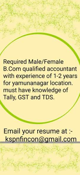 Required Male B. Com Accoutant with min exp of 1-2 years