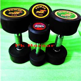 Pair of all sizes Rubber Coated Dumbbells, weight Plates dumbel Bench