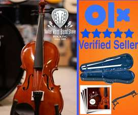 v01G-profesional violin+shoulder rest+extra strings set+hardcase free
