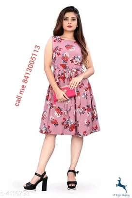 Women's Printed Pink Crepe Dress Attractive Women Dresses.