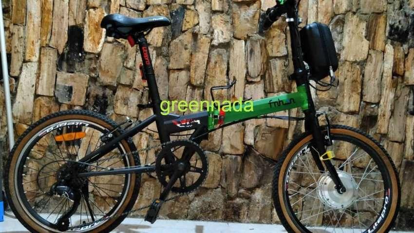sepeda listrik ebike sepeda lipat 20 inchi baterai baru 0