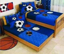 Tempat tidur anak minimalis material kayu jati AJF1101