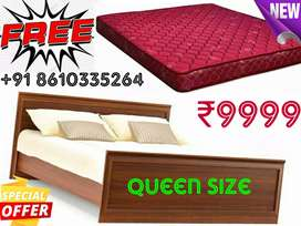 New wooden bed with mattress