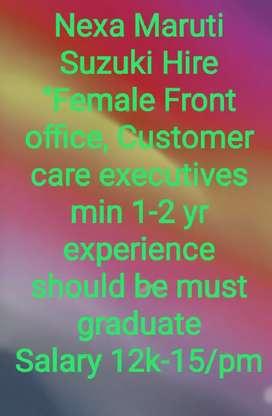 "Nexa Suzuki hiring female"" Front office Executive,Tele Sales executive"