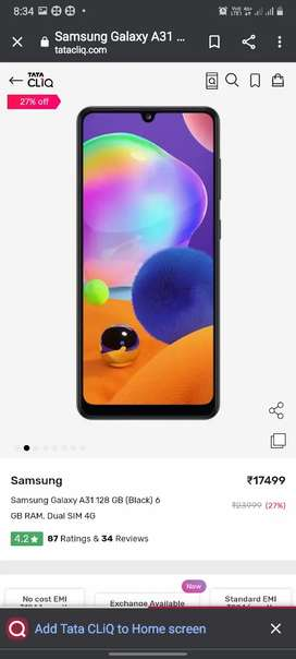 Samsung galaxy A31 6GB 128