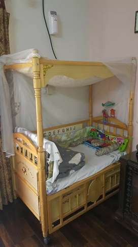 kids baby cot wooden cradle with drawers