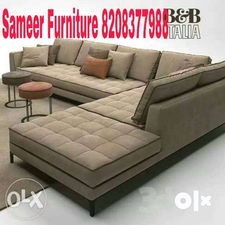 brand new five seater brown l shape sofa 0