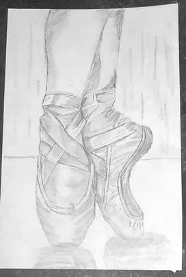 Pencil sketch of belly Shoes