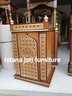 Mimbar masjid khutbah podiium bahan kayu jati grate A