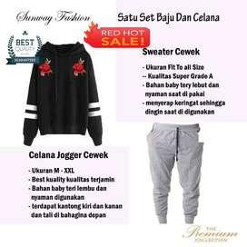 AM00631 Celana Setelan Satu set Sweater cewek dan celana joger