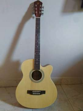 Wildman Brown And cream Acoustic Guitar with inbuilt guitar tunner