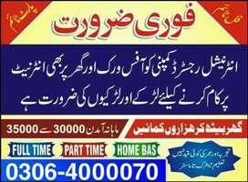 Part time, Full time, Home Based Online job for males,females