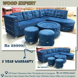 Sofa Set L shape with Center table and 2 puffy