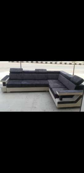 Brand new L Shape Tic Toc Pattern Sofa with Stylish Handle & Fabric