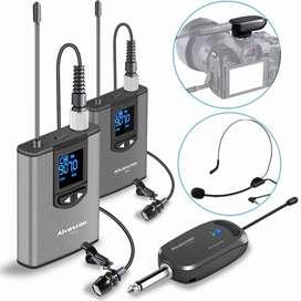 Wireless Headset Lavalier Microphone System -Alvoxcon Dual Wireless La