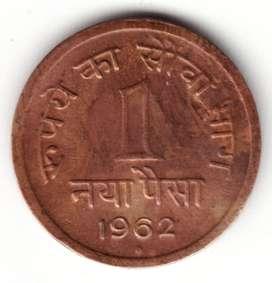 1962 Hyderabad Mint 1 Paise Ek Paisa Bronze Copper Old Coin Pendant