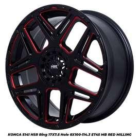 JUAL VELG RACING; HSR R17X75 H8X100-114,3 ET45 BK/RED MILLING