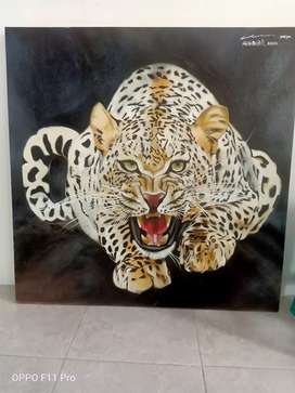 lukisan  gambar macan original natural