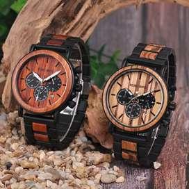 BOBO BIRD Jam Tangan Kayu Chrono Pria - WP09 (Chronograph Aktif)