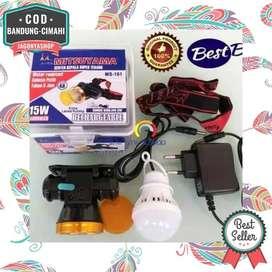 Senter Kepala Headlamp LED COB Charge 15 Watt Senter Anti Air MS161P