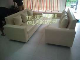 3+3 white leather elegant sofa available, with 5 years warranty