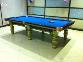 Snooker pool table with imported blue cloth