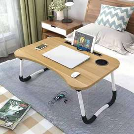 Meja Belajar Laptop Lipat Portable Desk with Bottle Hole Wooden
