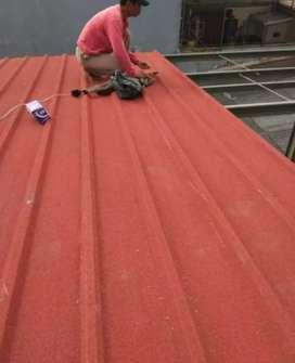 Kanopi rangka baja atap spandek pasir