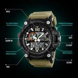 Skmei jam tangan digital analog pria army