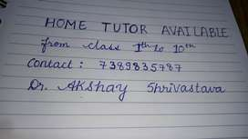 I need job, I'm Home tutor available from class 1-10th ( all subjects)