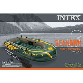 Seahawk 3 Person Inflatable Boat Set with Aluminum Oars