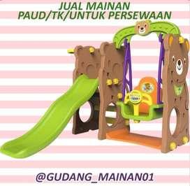 mainan playground anak perosotan, ayunan dan ring basket berkualitas