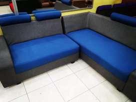Sofa furniture ruang tamu fllow L biru abu-abu abu