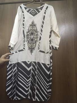 Black n white embroidered silk shirt