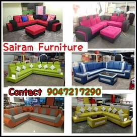 Sairam Furniture Brand new colourfull corner sofa set factory outlet