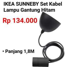 IKEA 549 SUNNEBY Set Kabel Lampu Gantung Hitam Tekstil