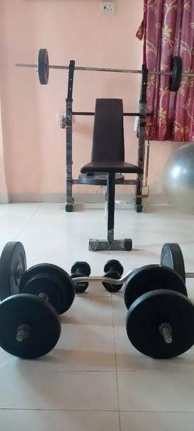 Complete Gym set, including bench, barbells Dumbbells, weights