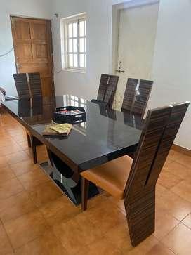 6 Seater Dining Set in Dark Cappucino Finish